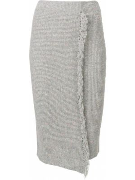 Кашемировая юбка миди с запахом с бахромой в рубчик Cashmere In Love