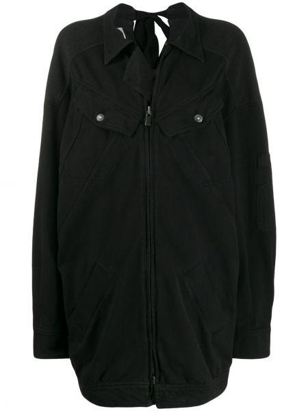 Черное свободное пальто свободного кроя на молнии A.f.vandevorst