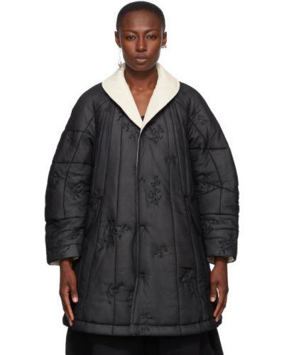 Белое стеганое пальто двустороннее с воротником с вышивкой Renli Su