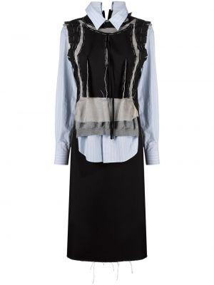 Шелковое черное платье макси с воротником Maison Margiela
