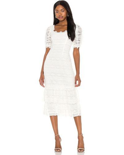 Кружевное белое платье миди на молнии Saylor