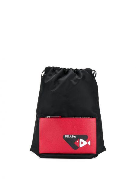 Czarny plecak skórzany z printem Prada