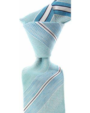 Biały krawat w paski z jedwabiu Moschino