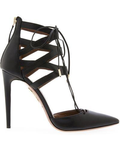 Туфли на каблуке черные кожаные Aquazzura