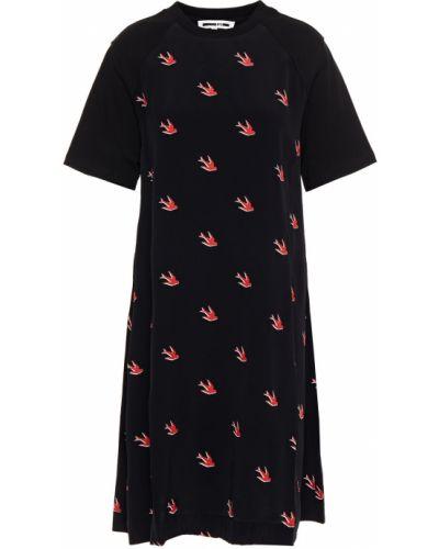 Трикотажное черное платье мини Mcq Alexander Mcqueen