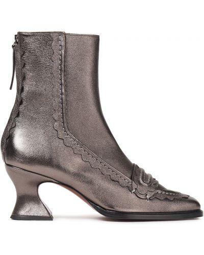 Ankle boots skorzane na obcasie Alexachung