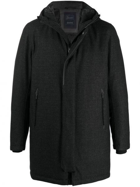 Czarny prosto wełniany długi płaszcz z długimi rękawami Herno