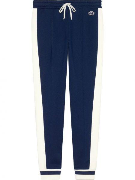 Bawełna z wysokim stanem prosto sportowe spodnie z łatami Gucci