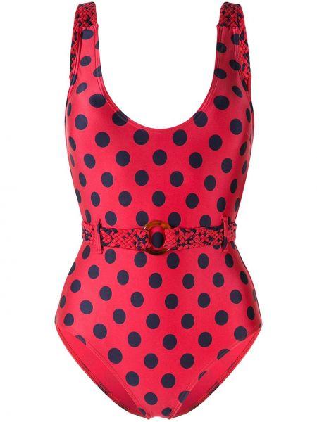 Облегающий нейлоновый красный спортивный купальник с вырезом Duskii