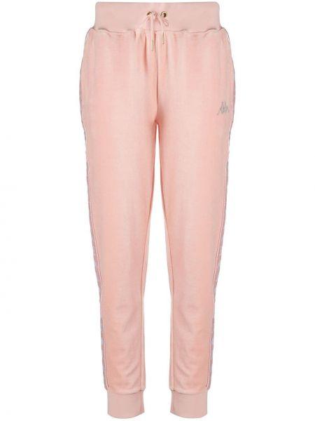 Хлопковые розовые укороченные брюки эластичные Kappa