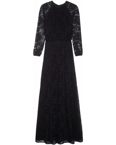 Ажурное с рукавами черное платье макси Laroom