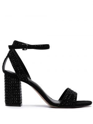 Czarne sandały na obcasie peep toe Carvela