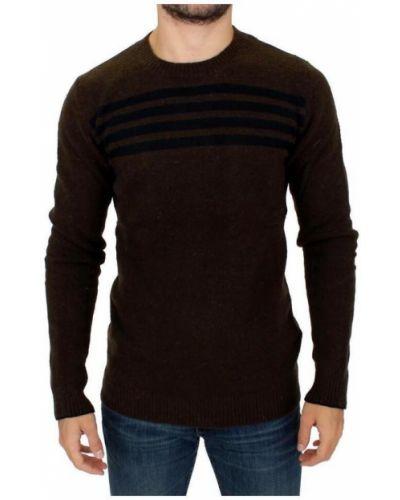 Brązowy sweter wełniany w paski Costume National