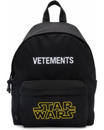 Черный рюкзак для ноутбука с вышивкой с карманами Vetements