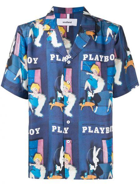Синяя прямая рубашка с короткими рукавами на пуговицах с карманами Soulland