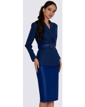 Костюмный синий вязаный юбочный костюм Anushka By Anna Pavlova