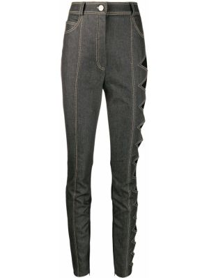 Серые джинсы-скинни на пуговицах с поясом с пайетками David Koma