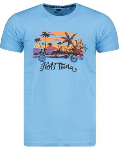 Niebieski prążkowany t-shirt bawełniany Hot Tuna