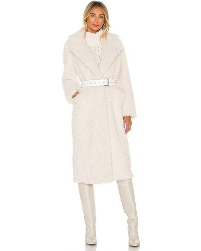Белое кожаное длинное пальто с поясом Eaves
