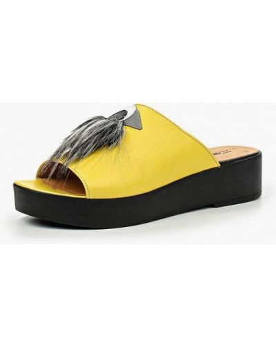 Желтое сабо кожаные Grand Style