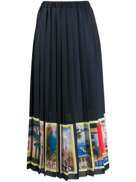 Ażurowa czarna spódnica maxi z printem Ultrachic