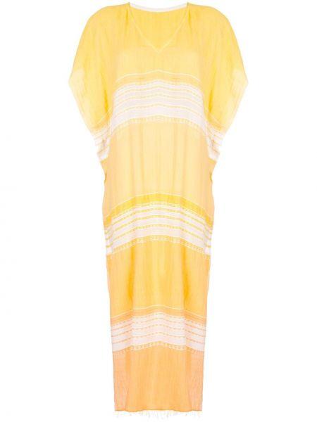 Пляжное желтое с рукавами платье мини Lemlem