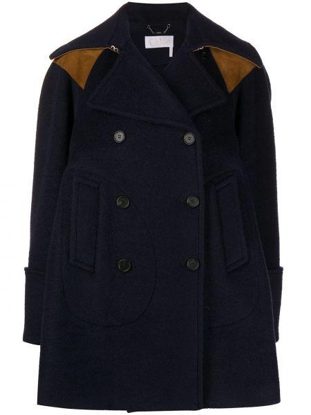Синее кожаное длинное пальто двубортное Chloé