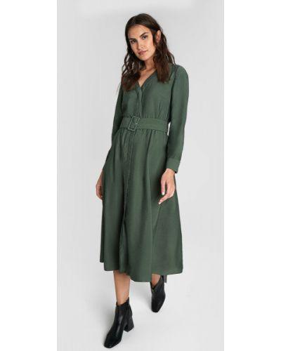 С рукавами платье миди хаки из вискозы с поясом Ostin