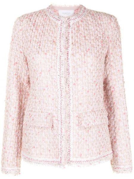 Розовый удлиненный пиджак твидовый с бахромой Giambattista Valli