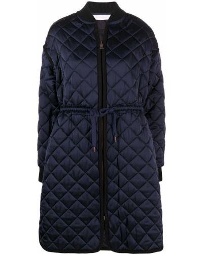 С рукавами синее стеганое длинное пальто See By Chloé