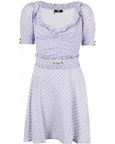 Фиолетовое платье миди с вырезом с оборками Elisabetta Franchi