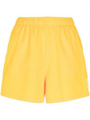 Хлопковые желтые шорты без застежки Les Girls, Les Boys