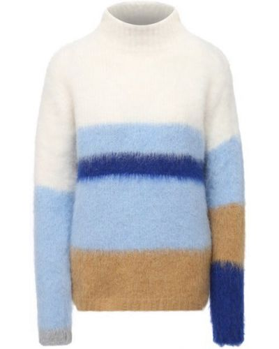 Синий шерстяной свитер с высоким воротником Erika Cavallini