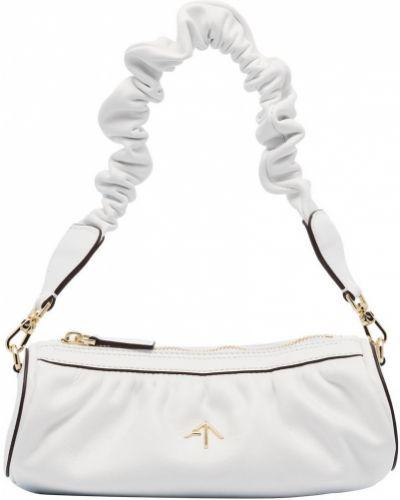 Кожаная белая маленькая сумка с оборками Manu Atelier