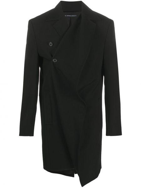 Шерстяное черное длинное пальто с запахом Y/project