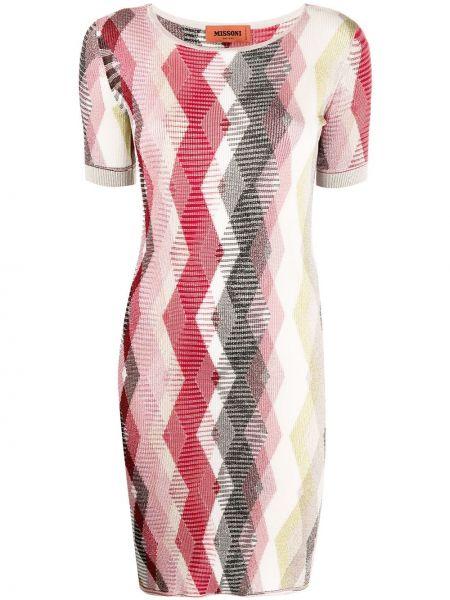 Шелковое красное платье мини с вырезом Missoni