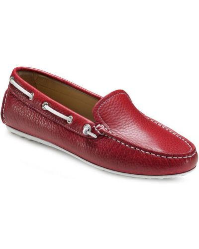 Мокасины красные кожаные Ecco