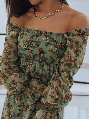 Zielona ażurowa sukienka hiszpanka Dstreet