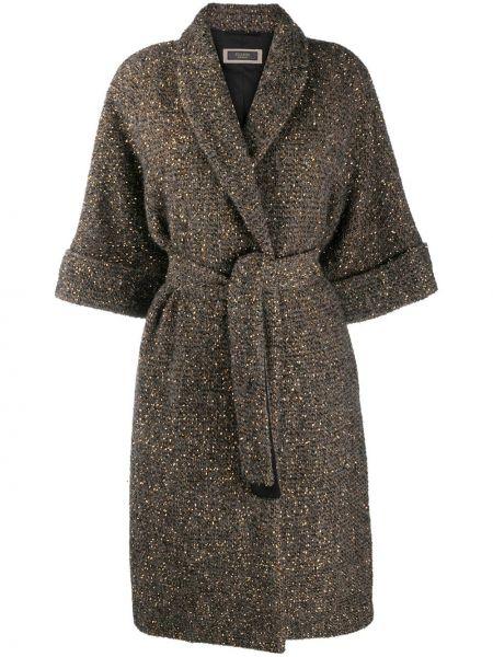 Коричневое шерстяное пальто с воротником Peserico