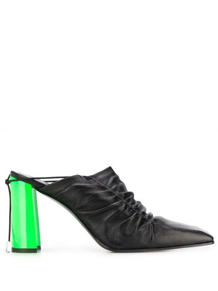 Черные мюли на каблуке с открытой пяткой Nina Ricci