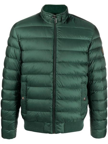 Puchaty zielony długa kurtka z kieszeniami z długimi rękawami Belstaff