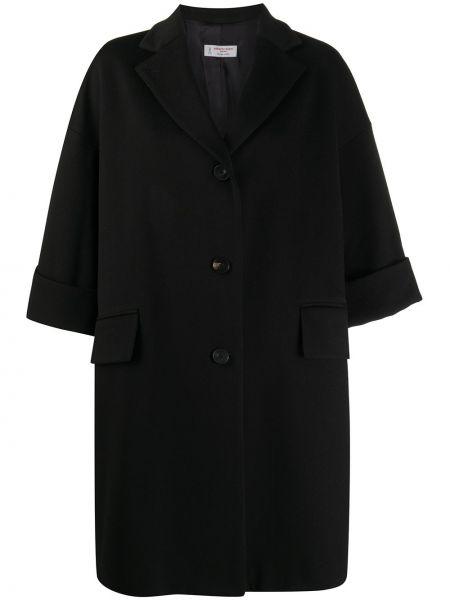 Шерстяное черное пальто с воротником Alberto Biani
