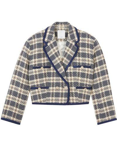 Синий пиджак твидовый двубортный Sandro