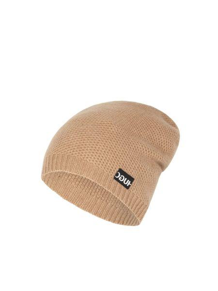 Prążkowana brązowa z kaszmiru czapka Hugo