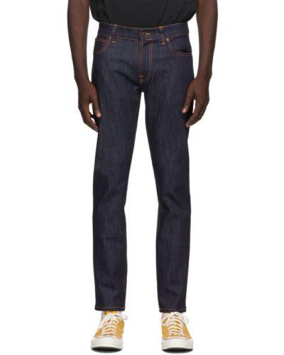 Текстильные белые джинсы стрейч Nudie Jeans