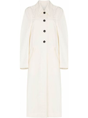 Белое пальто классическое с воротником с карманами Low Classic