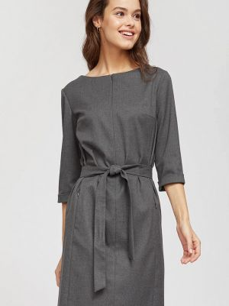 Платье серое прямое Calista