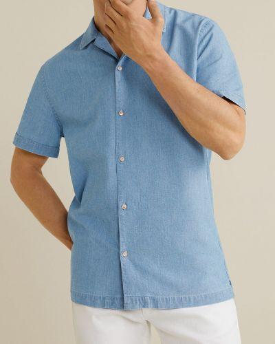 Джинсовая рубашка с длинным рукавом однотонная Mango Man