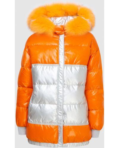Пуховик с мехом - оранжевый Florence Mode