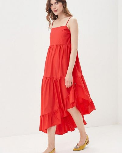 Красное платье с открытыми плечами Imperial